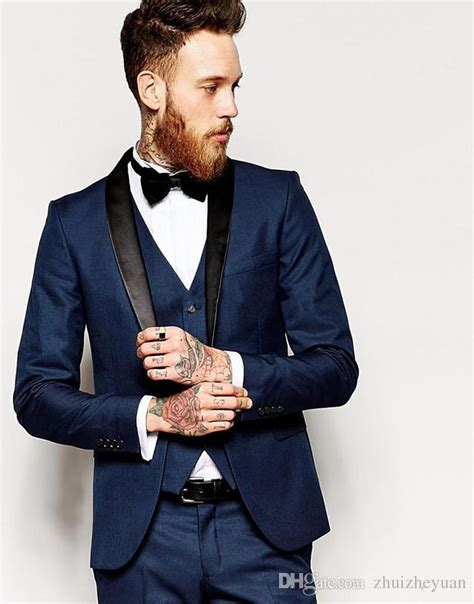 What color shoes to wear with a navy suit? 2018 New Cheap Navy Blue Groom Tuxedos Shawl Collar Men'S ...