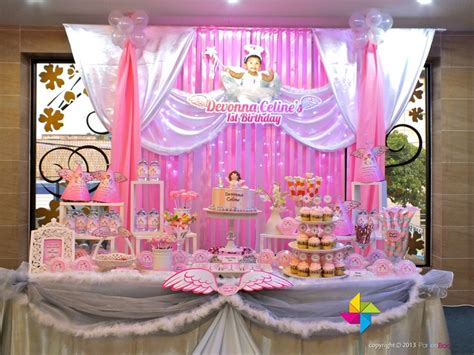 Backdrop & Cake / Candy Table For A Heavenly Little Angel