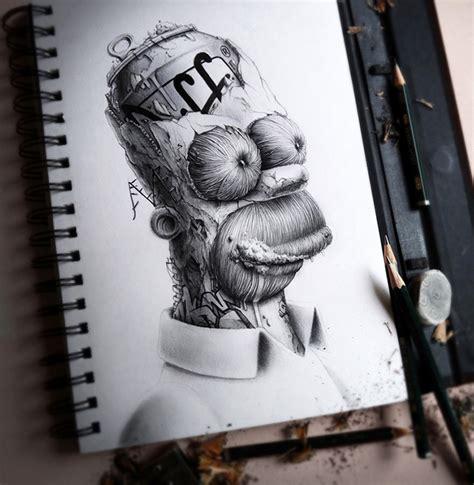 Distroy Creepy Graphite Drawings of Popular Cartoon