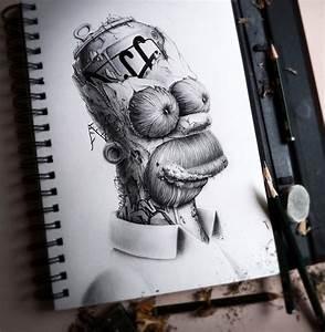Distroy, Creepy Graphite Drawings of Popular Cartoon ...