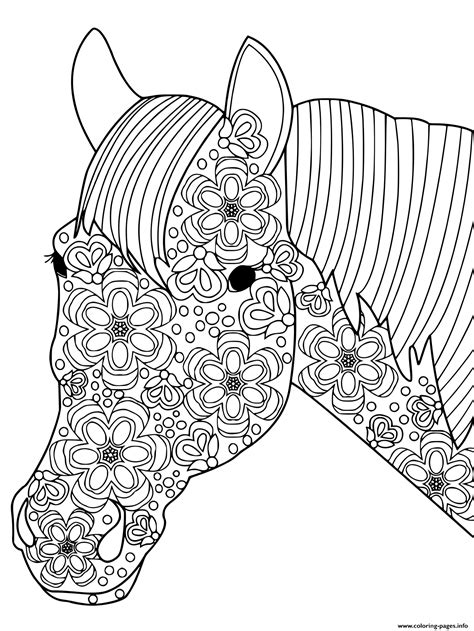 head horse  adults anti stress coloring pages printable