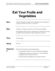 Eat Your Fruits and Vegetables Lesson Plan for 8th