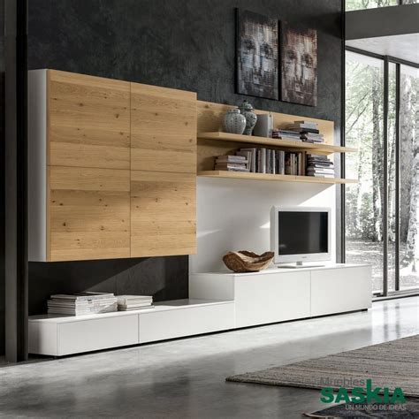 mueble de salon moderno blanco madera gs muebles