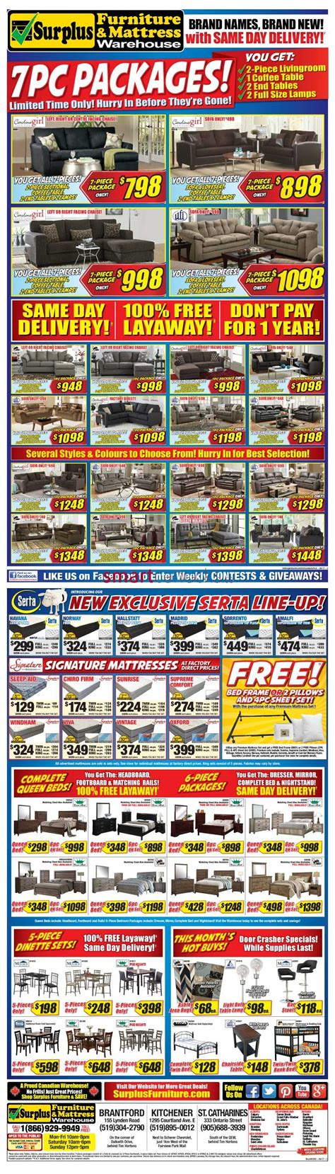 furniture surplus kitchener surplus furniture and mattress warehouse canada flyers
