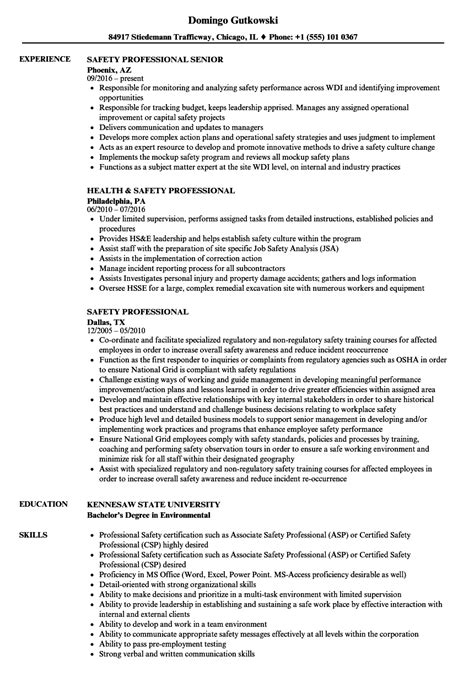 Safety Manager Resume by Professional Resume Exles World Of Reference