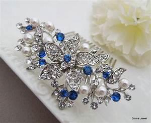 Blue Swarovski Crystal And Pearl Wedding CombWedding Hair