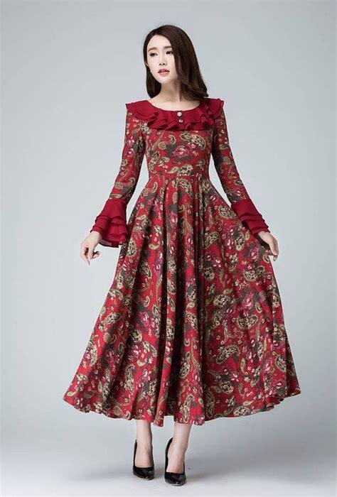 garden party dress linen dress flower prom dress women