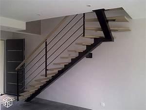Escalier 1 4 Tournant Droit : r alisation escalier limon central acier 1 4 tournant haut ~ Dallasstarsshop.com Idées de Décoration