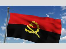 Angola Flag Waving On The Wind Against Cloudy Sky Stock