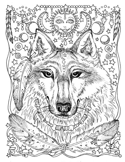 5 Pages Instant Download Animal Spirits to Color Wolf