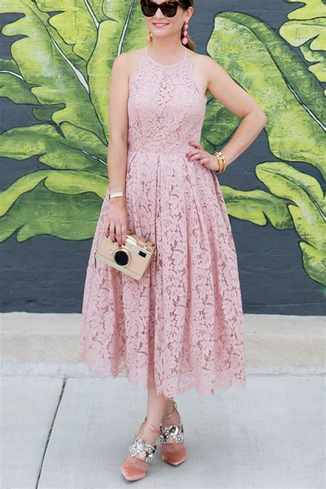 blush lace fit  flare midi dress   chicago leaf mural