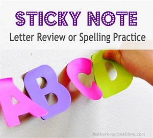 sticky note letter or spelling review idea kids With letter shaped post it notes