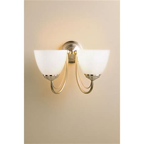 rome wall light satin nickel effect frosted glass 30 5cm