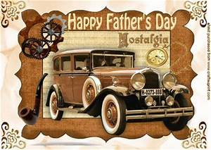 Vintage Car in Steampunk Frame for Fathers Day A4 ...