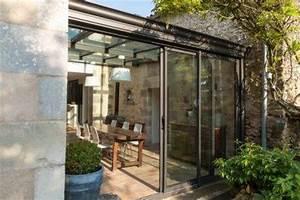 veranda salle a manger toiture vitree With maison toit plat en l 14 veranda toit terrasse montpellier herault grandeur