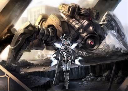 Anime Mech Robot Gun Hair Grey Background