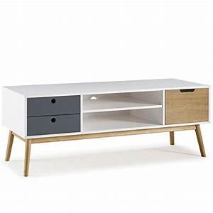 Meuble En Pin Massif Scandinave : meuble tv leti blanc fabriqu en bois de pin massif 1 porte y 2 tiroirs 140 cm ~ Melissatoandfro.com Idées de Décoration