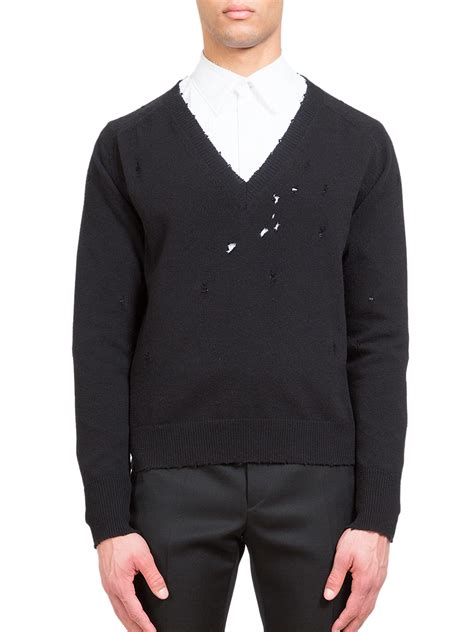sweaters for givenchy v neck wool sweater in black for lyst