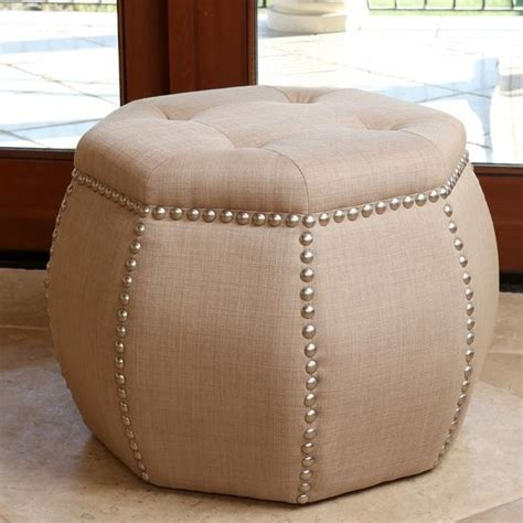 ottoman with nailhead trim black and beige damask cube ottoman