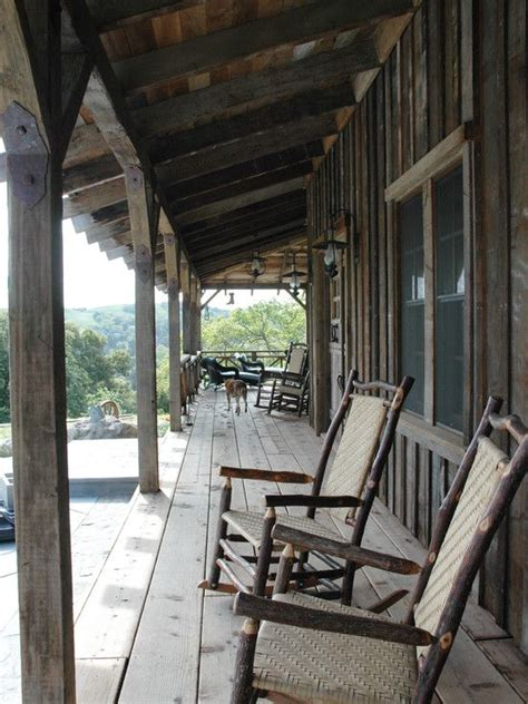board  batten siding creates  rustic cowboy porch
