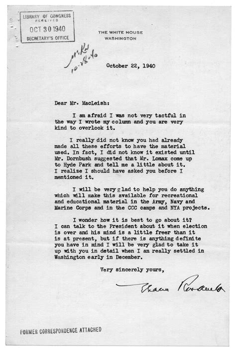 Letter from Eleanor Roosevelt to Archibald MacLeish