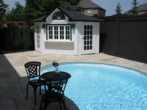Corner Backyard Pool House Shed Designs