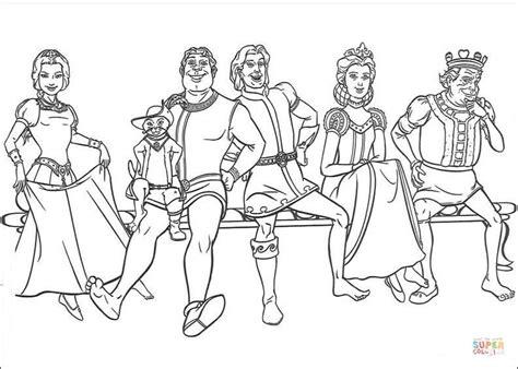 Kolorowanka Fiona, Kot W Butach, Shrek, Książę, Królowa I