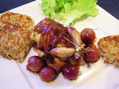 cuisiner sans gras cailles au raisin et foie gras la recette facile par