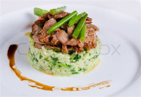 Gourmet Tasty Well Cooked Beef Meat And Green Beans On