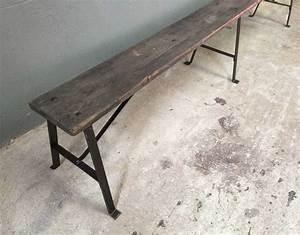 Banc Metal Bois : ancien banc d 39 cole bois et m tal rivet ~ Teatrodelosmanantiales.com Idées de Décoration