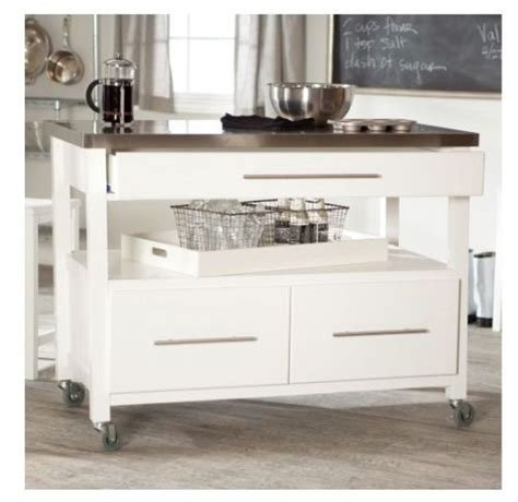 kitchen rolling island white rolling kitchen island stainless top cart wheels