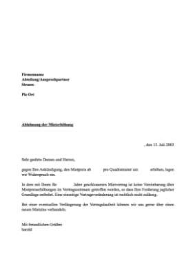 musterbrief ablehnung mieterhoehung vorlage muster hier