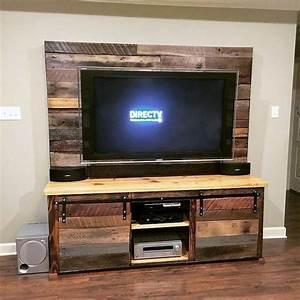 1001 idees meuble tv palette le recyclage en chaine With fabriquer un meuble tv en palette