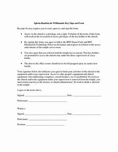 Best photos of key agreement template employee key for Key register template free