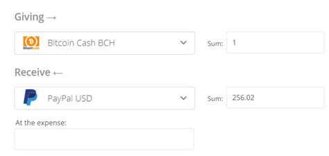 For exchange you need to follow a few steps: Exchanger24 - Bitcoin Cash to PayPal Exchange USD | BCH to PayPal Exchange (USD)