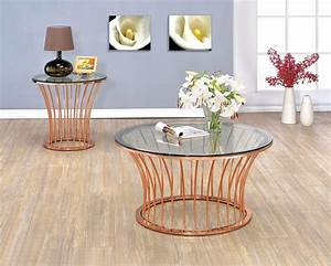 Celise rose gold occasional table set cm4124c furniture for Rose gold round coffee table