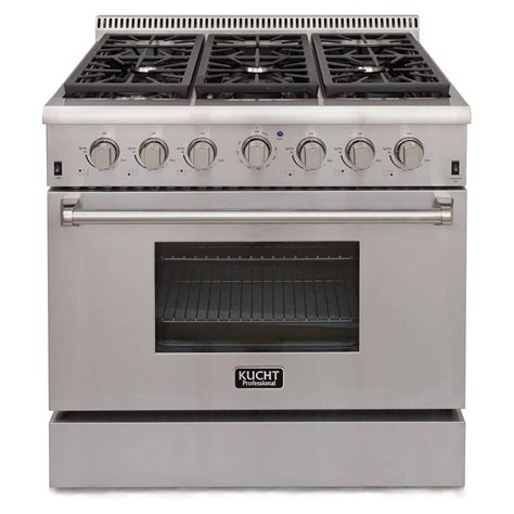 kucht pro style 36 in 5 2 cu ft gas range in stainless steel krg3618u the home depot