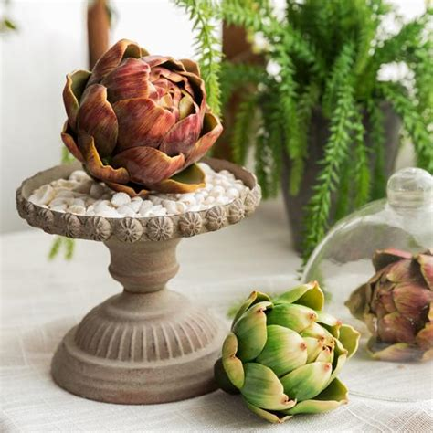 green thanksgiving decorating  artichoke table