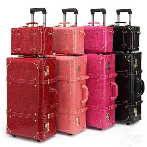Vintage Pu Leather Travel Luggage13 22 24korea Retro