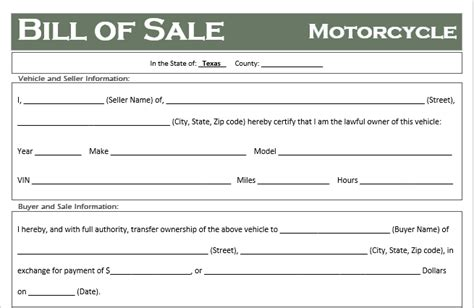 texas motorcycle bill  sale template  road freedom