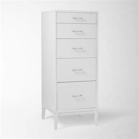 narrow white dresser narrow leg 5 drawer dresser white west elm