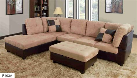 hton leather reversible sectional and storage ottoman f103a beige brown microfiber faux leather sectional