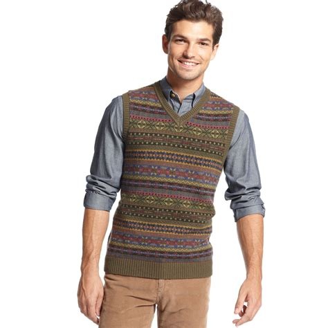 mens sweater vest hilfiger harry fair isle sweater vest in multicolor