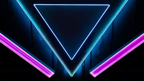 wallpaper neon shape triangle hd picture image