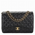 Chanel Quilted Lambskin Maxi Classic Double Flap Bag Black | World's Best