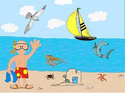 Beach Clip Clipart Summer Animated Scene Cliparts
