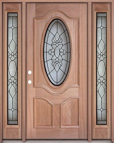 classic  oval mahogany front door  sidelights