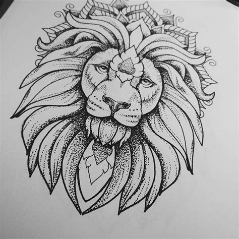 luxury dotwork lion  mandala crown tattoo design