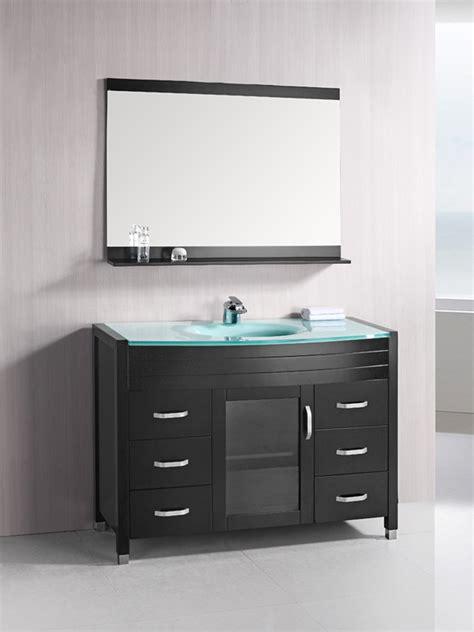 bath vanities 48 quot waterfall single bath vanity glass top bathgems