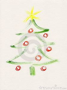 Christmas Tree Watercolor Painting Royalty Free Stock
